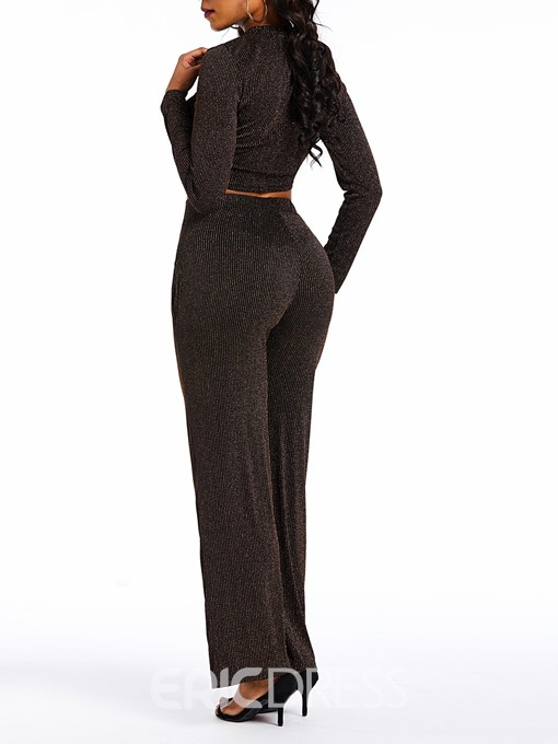 Ericdress Lurex Plain Pocker Crop Top and Wide Legs Pants Two Piece Set