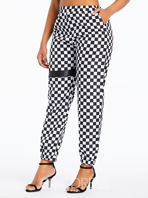 Ericdress Plaid Loose Print Full Length Overall Casual Pants