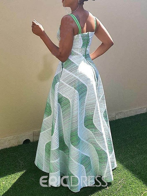 Ericdress African Fashion Square Neck Sleeveless Floor-Length Maxi Dress
