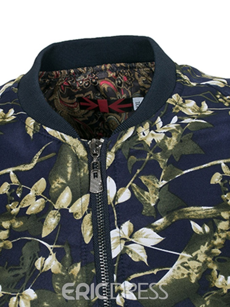 Ericdress Patchwork Floral Printed Stand Collar Mens Slim Zipper Jacket