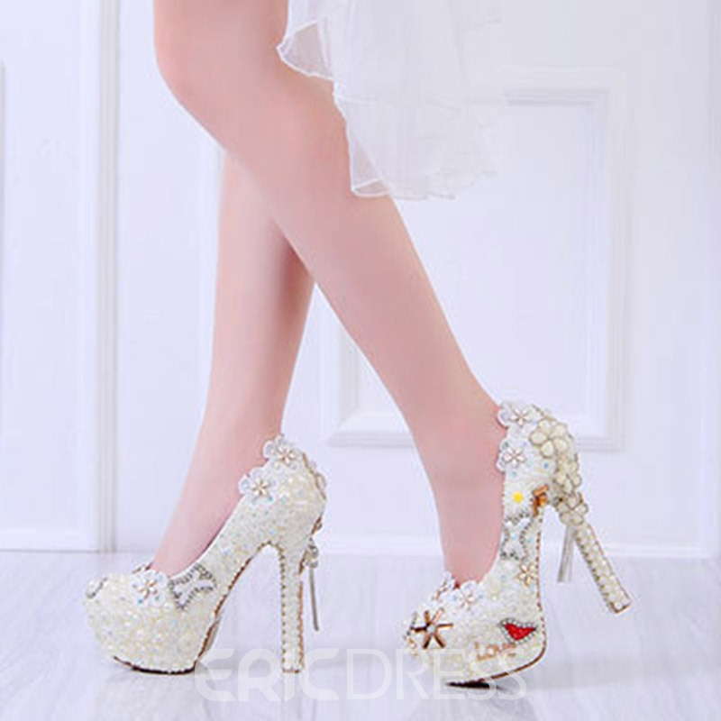 Ericdress Beads Stiletto Heel Round Toe Wedding Shoes