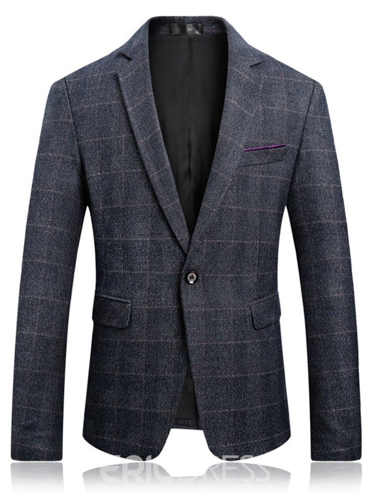 Ericdress Plaid Notched Lapel Mens Casual OL Slim Blazer