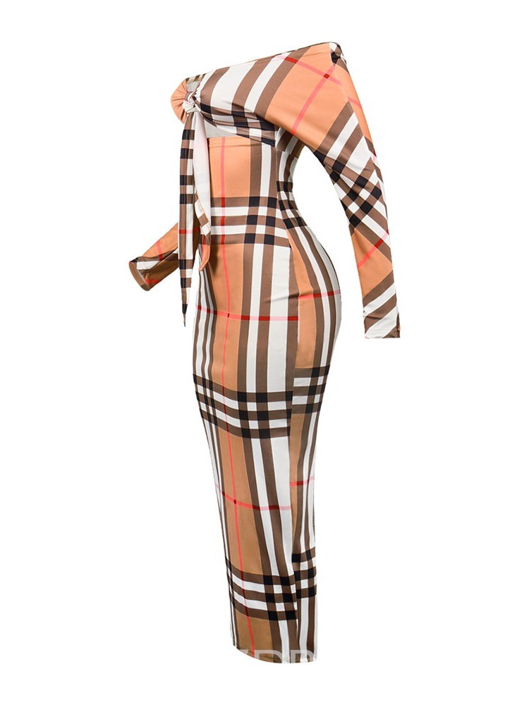 Ericdress Lace-Up Plaid Mid-Calf Party Bodycon Dress