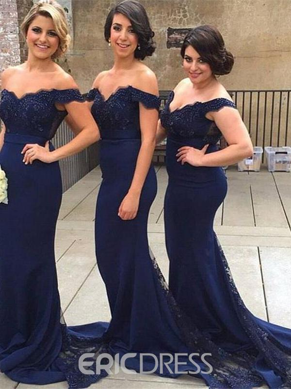 Ericdress Off-The-Shoulder Mermaid Bridesmaid Dress 2019