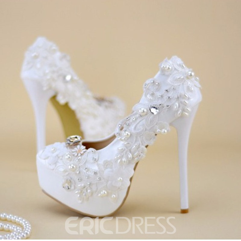Ericdress Stiletto Heel Round Toe Rhinestone Wedding Shoes