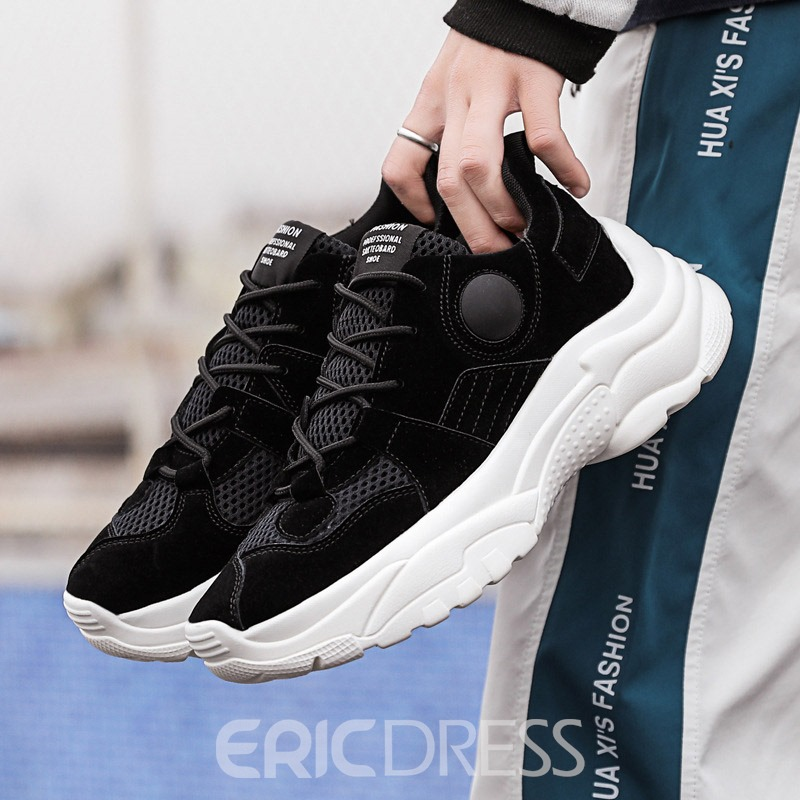 Ericdress Plain Mesh Lace-Up Men's Breathable Sneakers