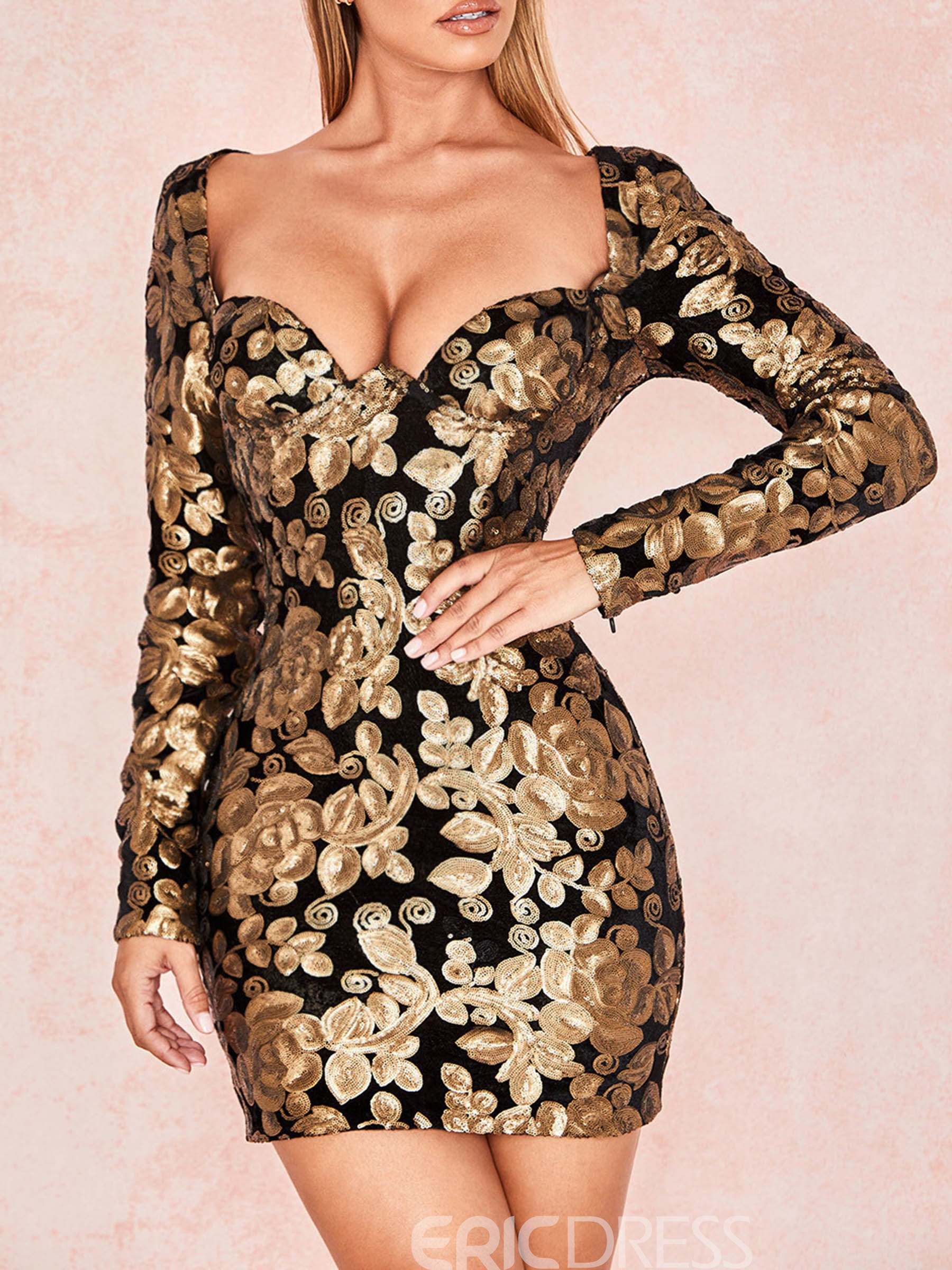 Ericdress Above Knee Long Sleeve Sequins Bodycon Dress