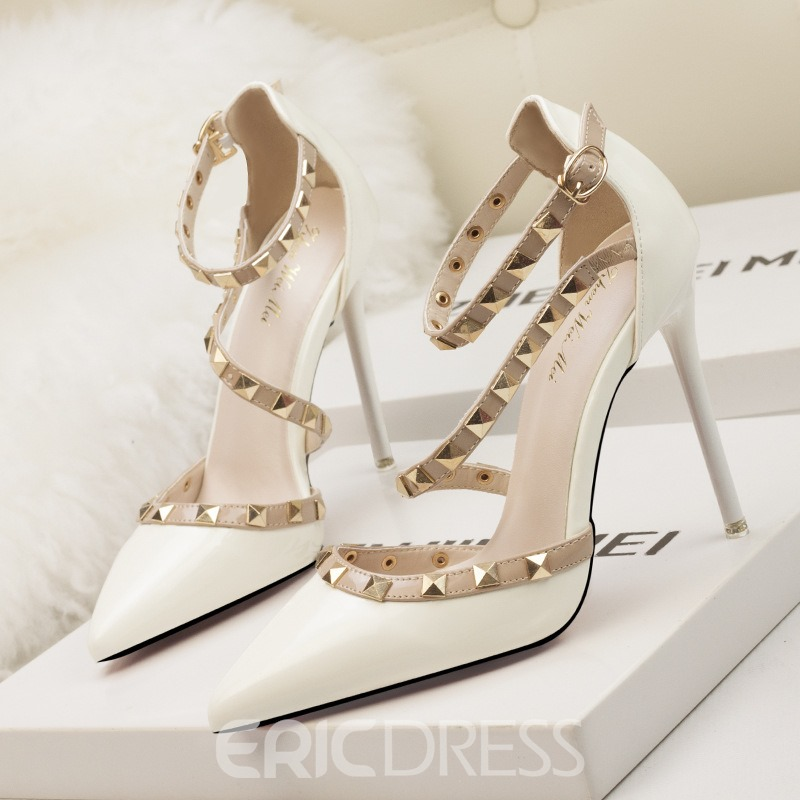 780923bff5a Ericdress Rivet Buckle Stiletto Heel Pointed Toe Pumps 14012777 ...