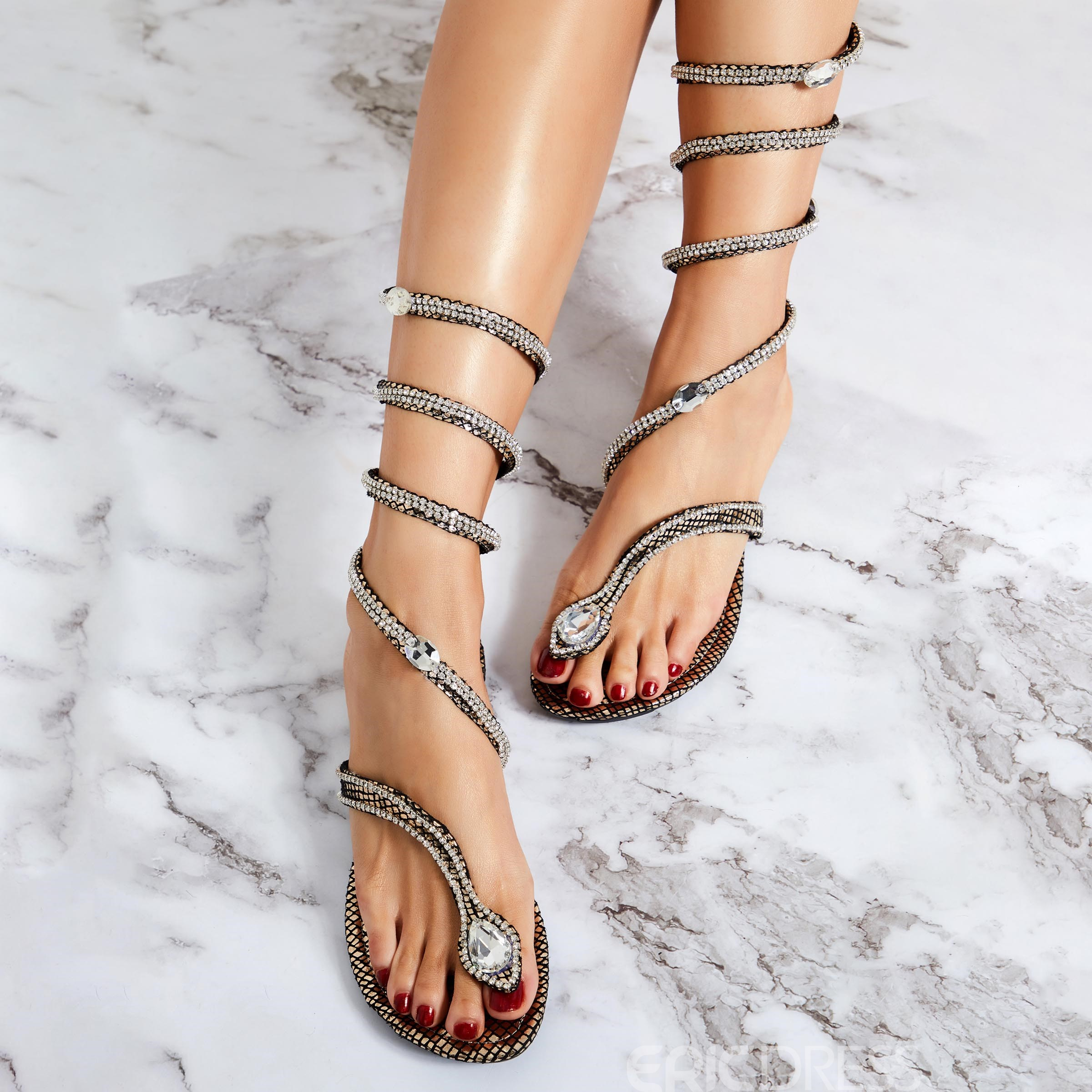 Ericdress Unique Snake Shape Rhinestone Decoration Gladiator Sandals