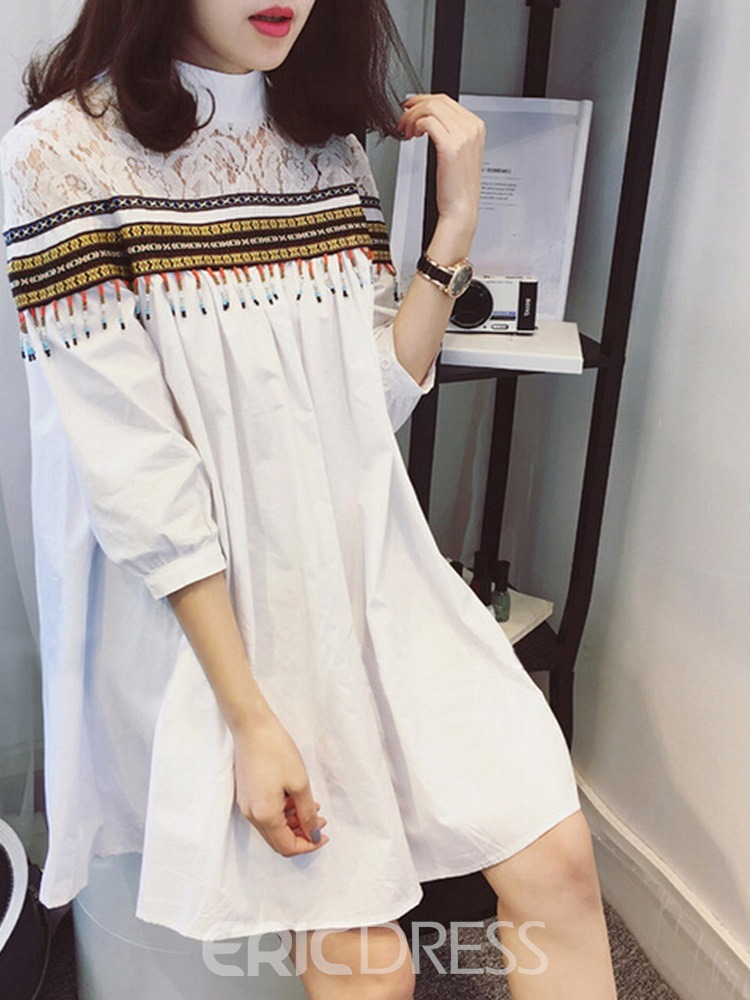 Ericdress Stand Collar Three-Quarter Sleeve Mid-Length Spring Simple T-Shirt
