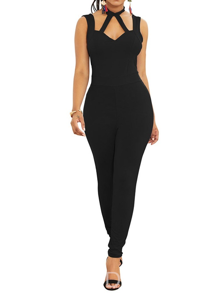 Ericdress Full Length Plain Backless Pencil Pants High Waist Jumpsuit