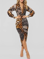 Ericdress Long Sleeve Print V-Neck Bodycon Leopard Dress фото