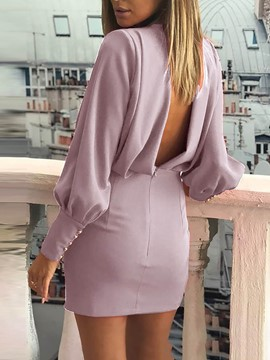 Ericdress Above Knee Button Long Sleeve Pullover Plain Dress