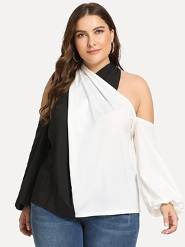 Ericdress Patchwork Color Block Plus Size Sexy Blouse