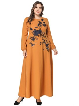 Ericdress Plus Size Round Neck Embroidery Travel Look Floral Dress