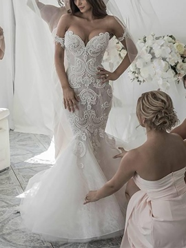 Ericdress Off the Shoulder Lace Mermaid Wedding Dress 2020