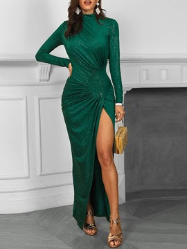 Ericdress Long Sleeves Pleated Slit Bodycon Dress