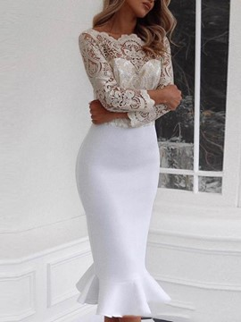 Ericdress Lace See-Through Mid-Calf Long Sleeve Mermaid Dress