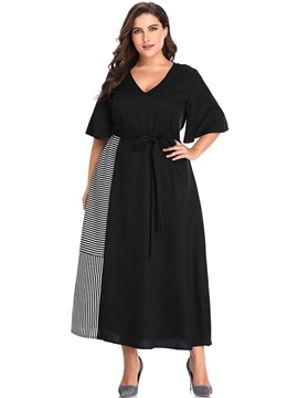 Ericdress Half Sleeve Patchwork V-Neck Plus Size Casual Dress