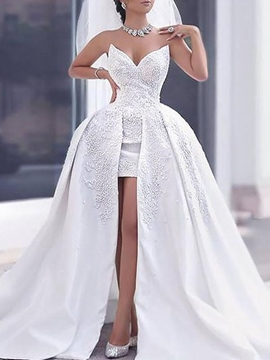 Ericdress Appliques Sweetheart Hi-Low Wedding Dress 2019