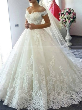 Ericdress V-Neck Lace Cap Sleeves Wedding Dress