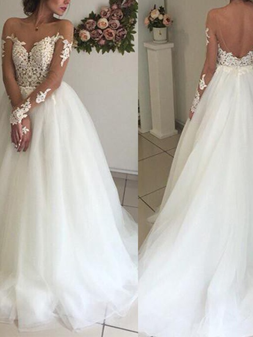 Ericdress Long Sleeves Appliques Plus Size Wedding Dress 2019