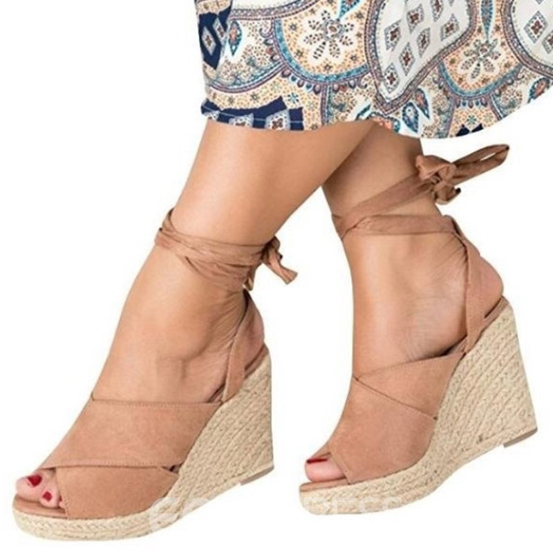 Ericdress Peep Toe Lace-Up Wedge Heel Women's Sandals