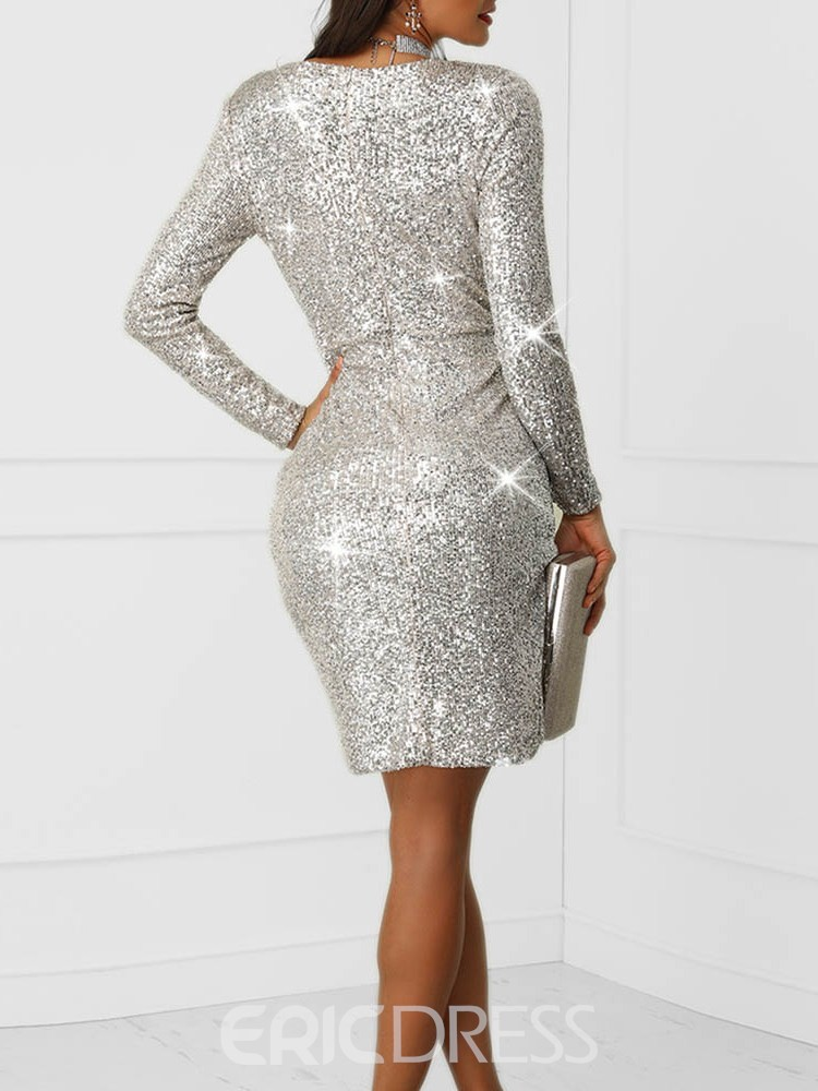Ericdress Sequins Long Sleeve Above Knee Pleated V Neck Dress