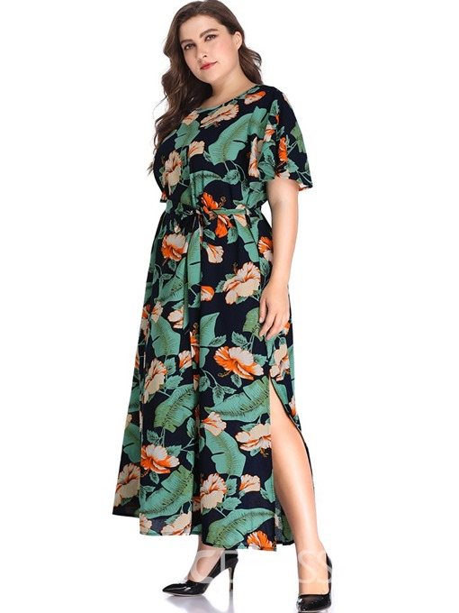 Ericdress Ankle-Length Round Neck Print Plus Size Cocktail Floral Dress