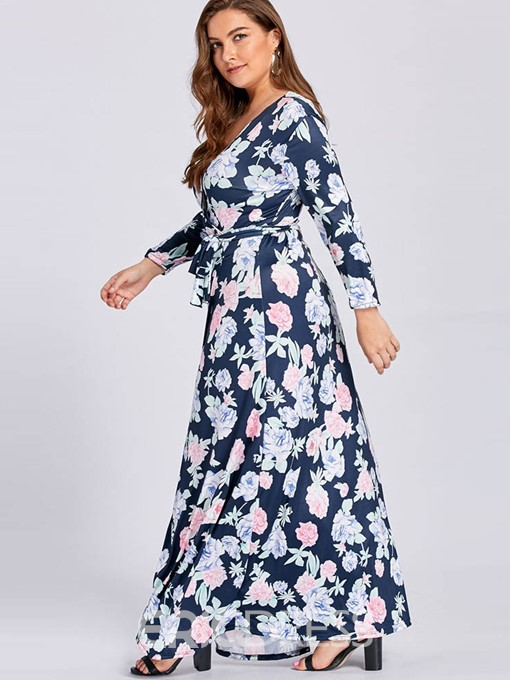 Ericdress Plus Size V-Neck Floor-Length Print High Waist Floral Dress