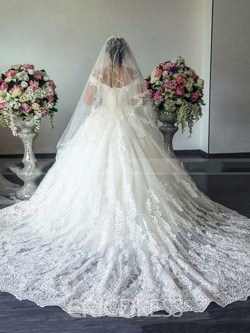 Ericdress V-Neck Lace Cap Sleeves Wedding Dress 2019