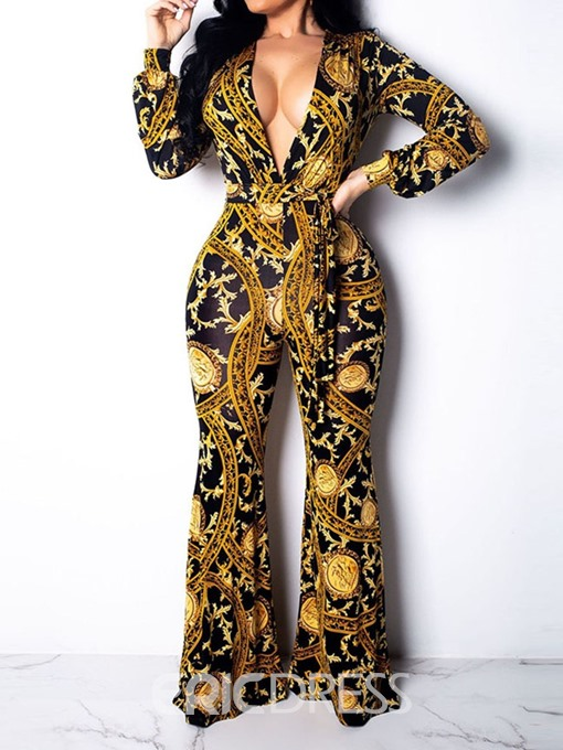 Ericdress African Print Sexy Print Loose Bellbottoms Jumpsuit