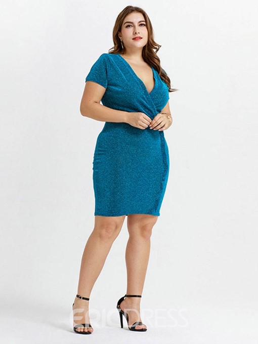 Ericdress Above Knee V-Neck Short Sleeve Plus Size Cocktail Pullover Dress