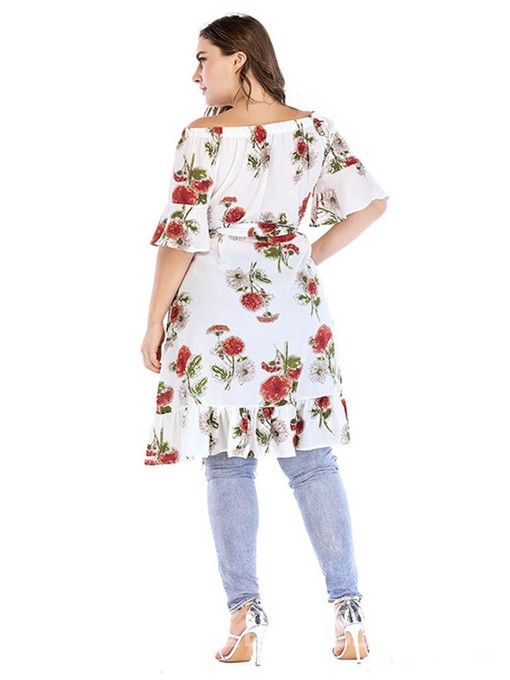 Ericdress Half Sleeve Off Shoulder Knee-Length Plus Size A-Line Dress