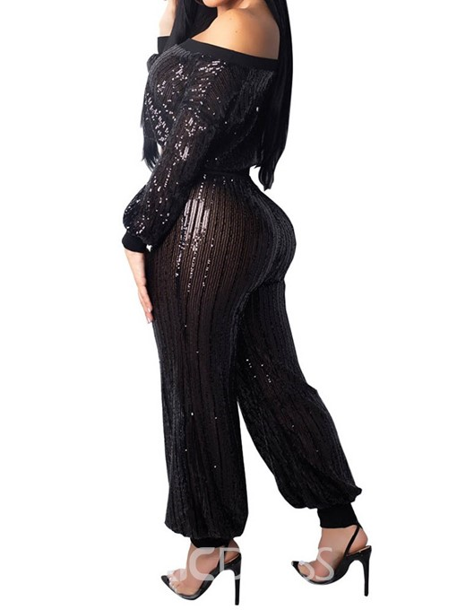 Ericdress Plain Fashion Sequins Crop Top and Knickerbockers Two Piece Sets