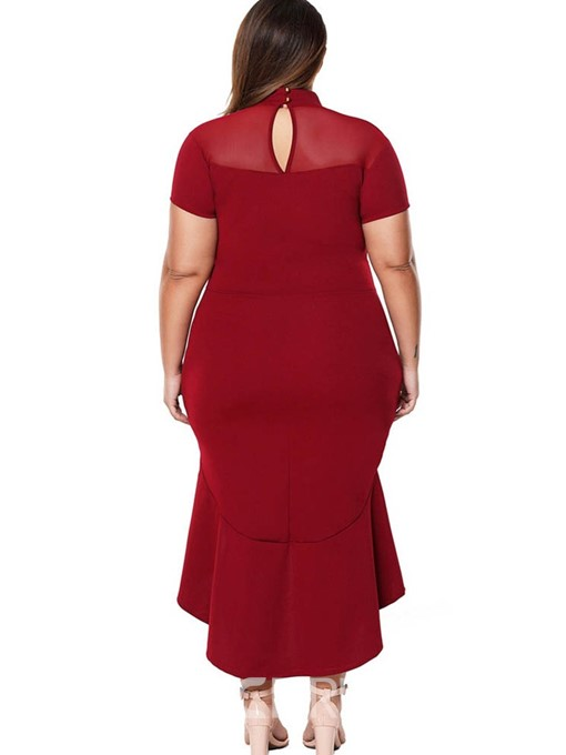 Ericdress Plus Size Stand Collar Mid-Calf Hollow Pullover Plain Dress