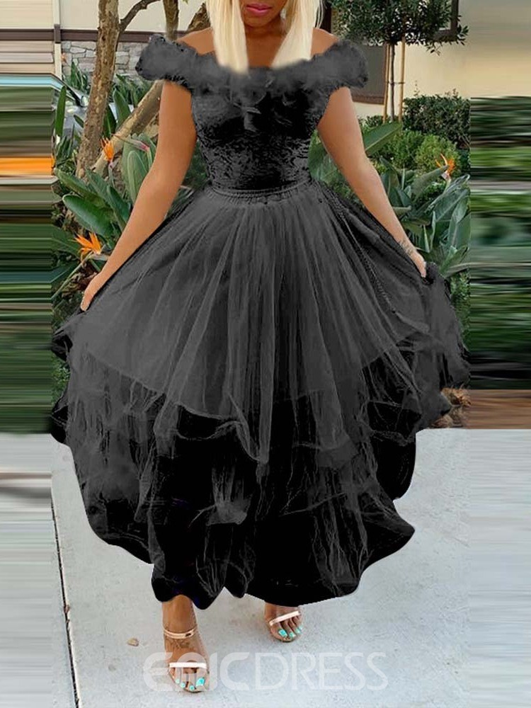 Ericdress Feather Off the Shoulder Ankle-Length Pleated Dress