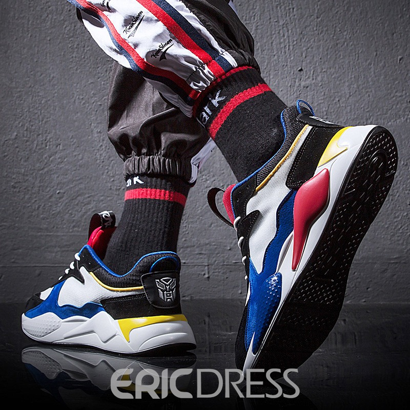 Ericdress PU Color Block Lace-Up Men's Sneakers