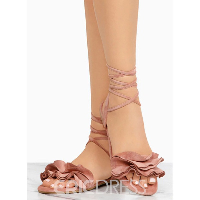 Ericdress Faux Suede Ruffles Strappy Women's Flat Sandals