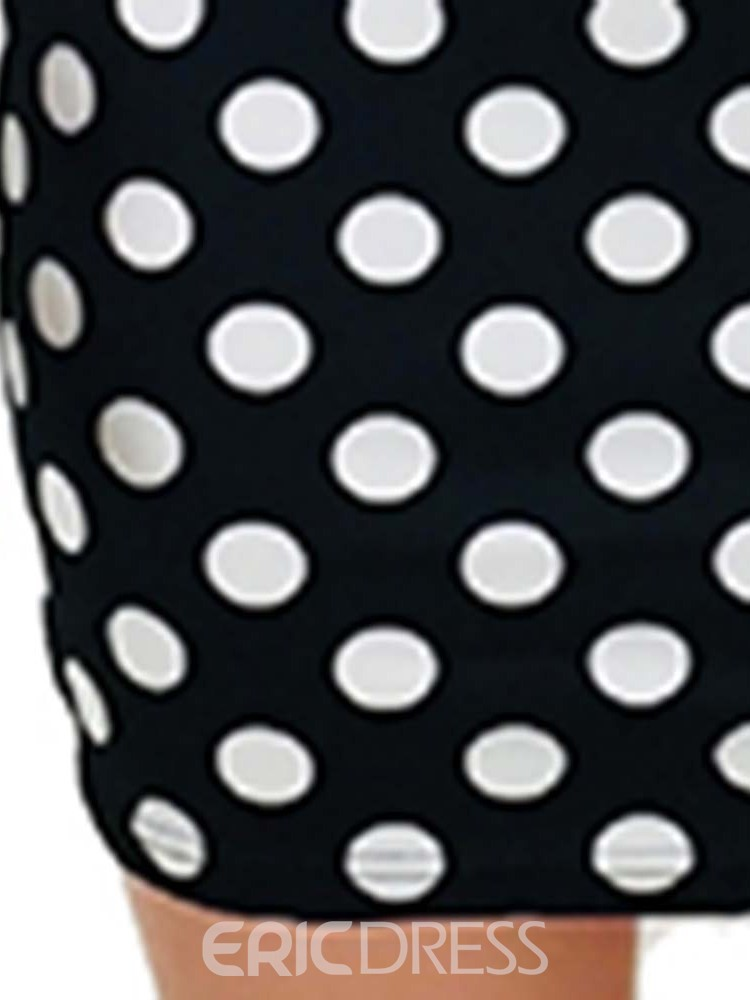 Ericdress Above Knee Polka Dots Print Bodycon Dress
