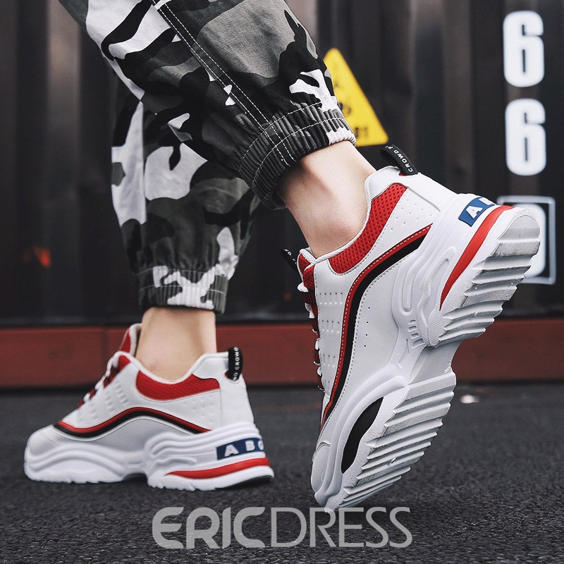 Ericdress Mesh Lace-Up Color Block Men's Sneakers