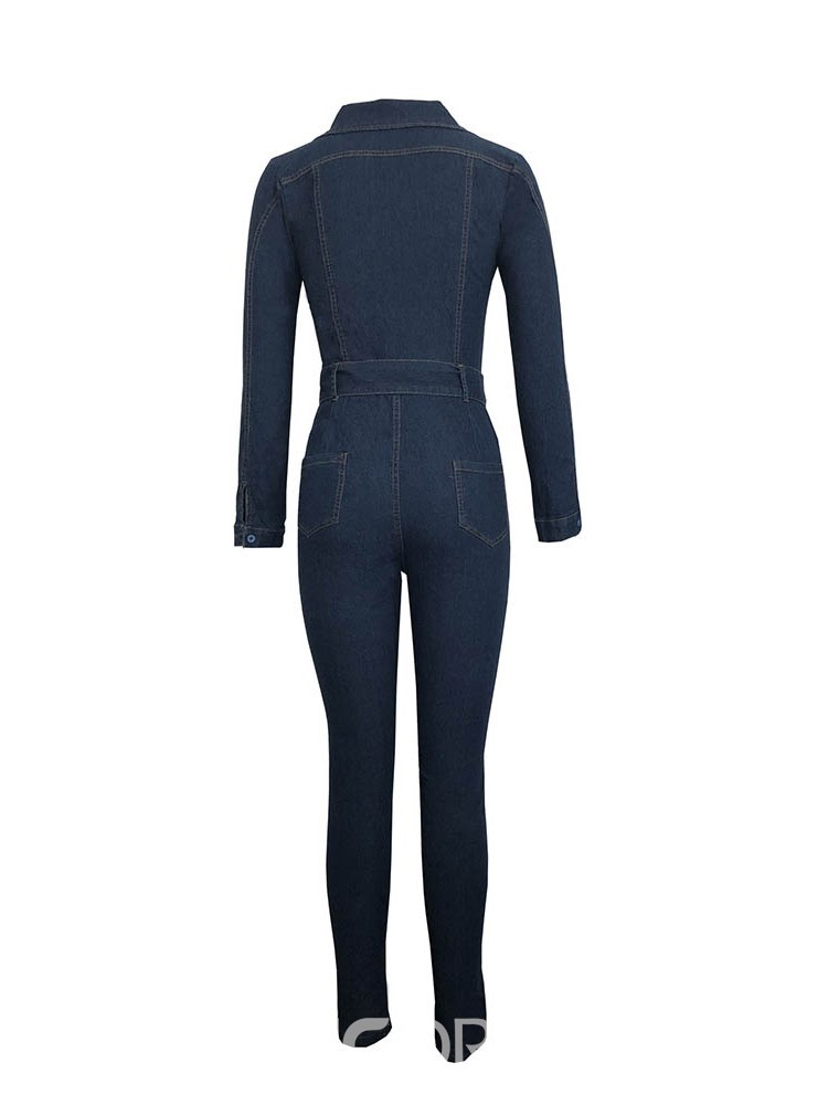 Ericdress Denim Plain Fashion Skinny Pocket Women's Jumpsuit