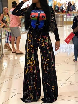 Ericdress Paint Splatters Cartoon T-Shirt and Wide Legs Pants Two Piece Sets