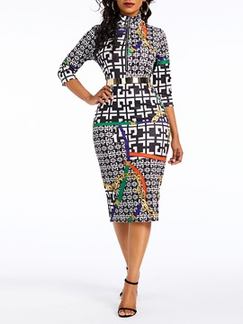 Ericdress Three-Quarter Sleeve Print V-Neck Bodycon Sexy Dress