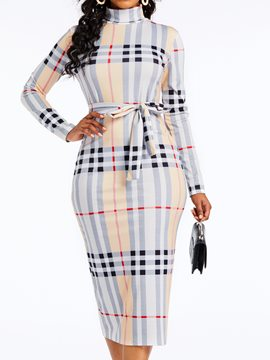 Ericdress Plaid Three-Quarter Sleeve Plaid Bodycon Dress