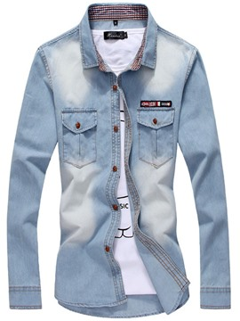 Ericdress Lapel Plain Single-Breasted Worn Mens Denim Shirt