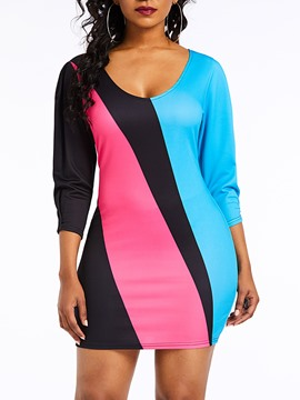 Ericdress Color Block Above Knee Patchwork Bodycon Dress