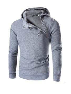Ericdress Plain Pullover Asymmetric Hooded Mens Casual Hoodies