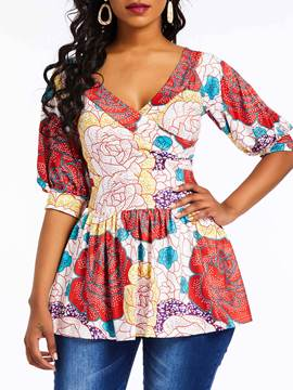 Ericdress Floral Lantern Sleeve Mid-Length Blouse