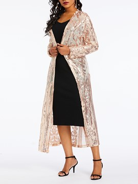 Ericdress Plain Sequins Long Sleeve Long Blouse